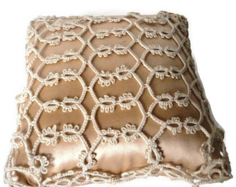 Victorian Silk Pincushion Tatted Lace Emory Filled