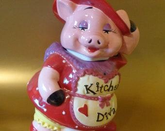 COOKIE JAR ~  PIG,  Kitchen Diva  by Mercuries,