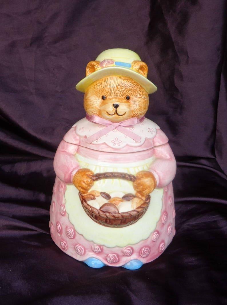 COOKIE JAR ~ Musical Bear with cookies, San Francisco Music Box Co  1990