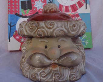 COOKIE JAR ~  Santa Claus Head,  Grey Beard,