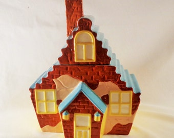 Cookie Jar ~  Adorable Little Brick House with Stairway Roof