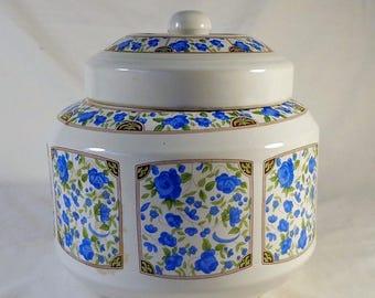 COOKIE JAR ~  Blue Floral pattern,  round,