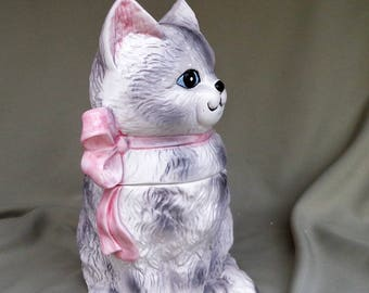 COOKIE JAR ~  Long haired, gray kitty kat with Pink ribbon, Rainbowman I