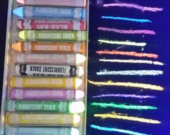 Set of 12 Black Light Reactive Vintage Blak Ray Chalk
