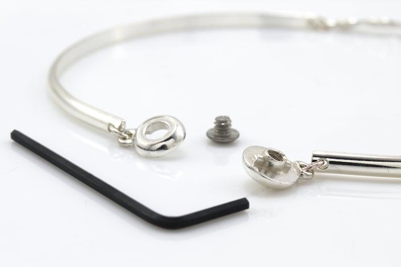 Sterling Silver Discreet Slave Day Collar Sized to Order Half Round 6 Gauge Wire w Locking Allen Key Clasp