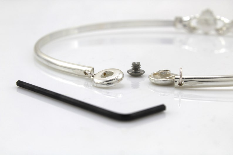 Sized to Order Sterling Silver Discreet Slave Day Collar w Celtic Claddagh /& Locking Allen Key Clasp