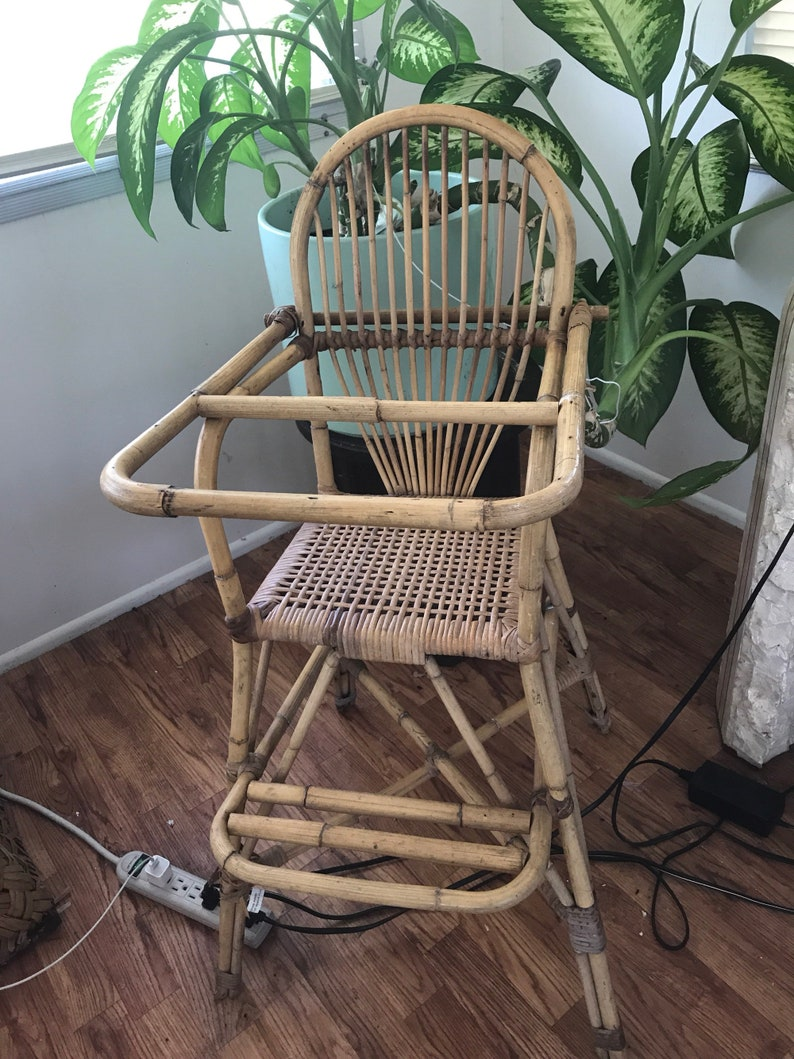 Vintage Bamboo And Rattan High Chair