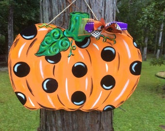 Pumpkin Door Hanger Glittered Polka Dot Fall Halloween Thanksgiving Harvest Door Wreath Door Decor