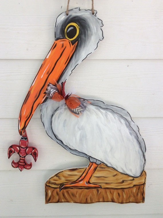 Pelican Door Hanger Pelican With Crawfish Fleur De Lis Door Hanger Crawfish Fleur De Lus Crawfish Door Hanger Nola New Orleans