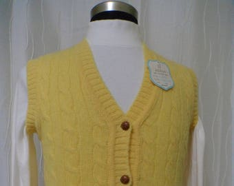 Vintage Wool Sweater Vest (Size: Women's 38, Extra Small/Small?) Yellow Vest, Cable Knit, Shetland Wool, NOS, Great Condition, Aston Vest