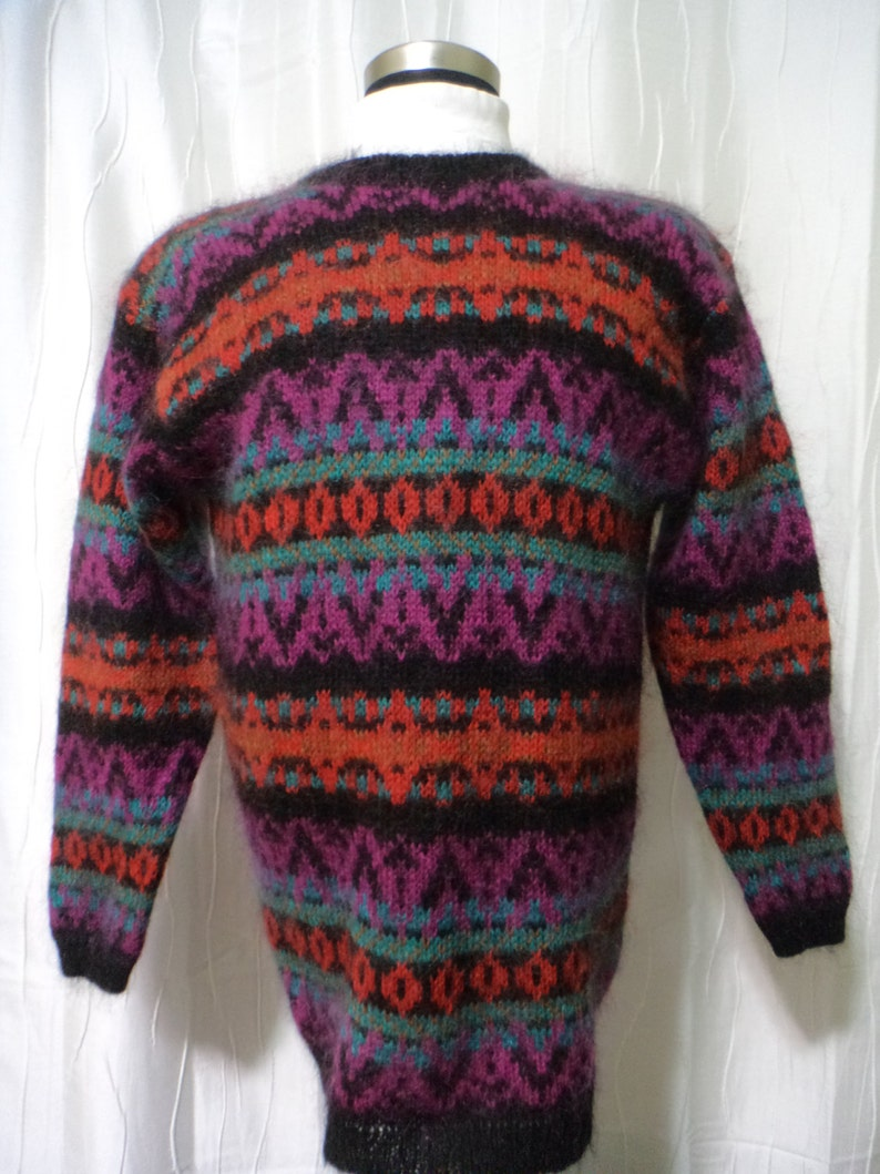Vintage Mohair Pullover Sweater Size: Women/'s Large Orange Red Mohair Blend Sweater Camel Brown Black Magenta Turquoise Tunic Look