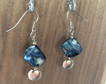 Iridescent Abalone Drop Earrings