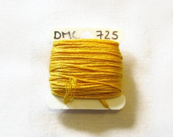 Golden yellow embroidery thread,  DMC 725, stranded embroidery floss, cross stitch supplies, stranded cotton