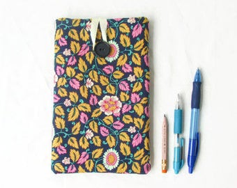 7 inch tablet cover, floral tablet case, blue nexus 7 case, fabric kindle fire cover, fabric tablet sleeve, handmade in the UK