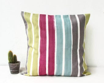 Colourful cushion cover, British designer Clarke and Clarke cushion, modern striped pillow cover, square pillow cover, handmade in the UK