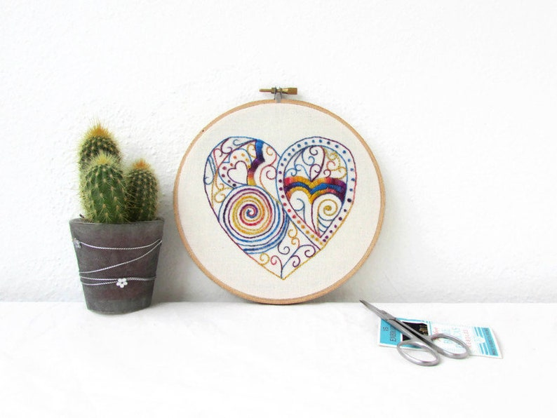 new home textile art gift Colourful doodle wall art modern hand embroidery wall hanging