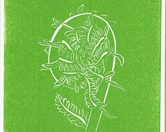 Fiddlehead Fern - Set of 5 Letterpress Printed Handmade Stationery