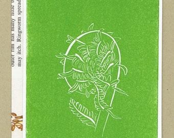 Fiddlehead Fern - Science Themed Blank Letterpress Card