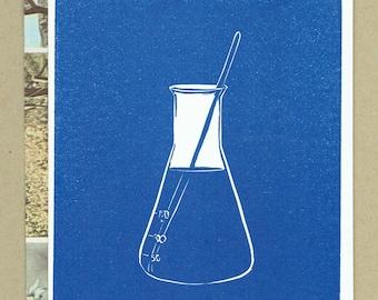 Erlenmeyer Flask - Science Themed Blank Letterpress Card