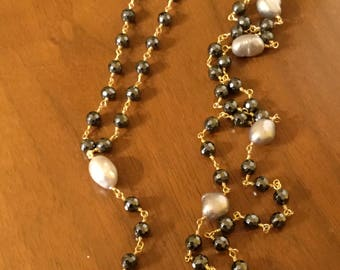 Bluish Black crystal and grey Baroque Pearl Necklace