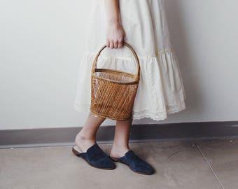SIBYLLE BASKET PURSE | basket handbag | woven purse | basket purse | Jane Birkin basket style purse | vintage handbag | Able Shoppe