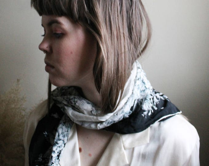 vintage black and white neck scarf |  scarf | neck scarf | fashion scarf | vintage scarf | vintage neck scarf | Able Shoppe