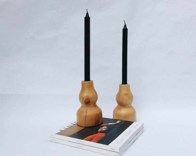 Vintage wooden candle holders   vintage pair of candle holders   midcentury modern wooden candle holders   ABLE SHOPPE