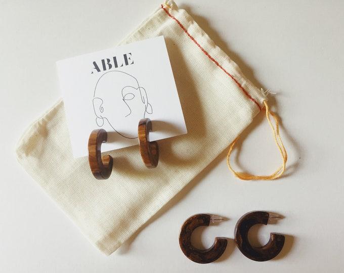 HATTIE EARRINGS | vintage bakelite hoop earrings | pierced earrings |  bakelite | vintage hoops | hoop earrings | able shopppe