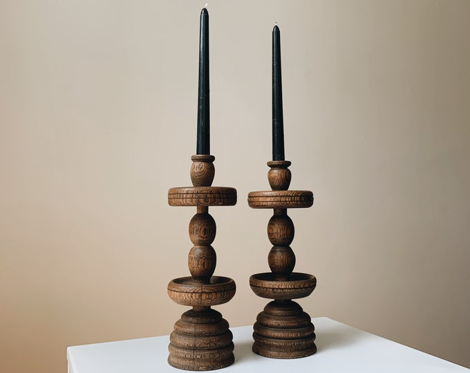 Vintage wooden candle holders set