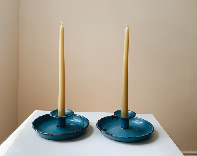 Vintage blue candle holders set