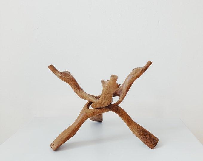 Teak bowl holder / sculpture