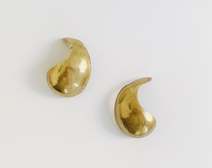 vintage statement earrings | brass earrings | pierced earrings | statement earrings | large earrings | Able Shoppe