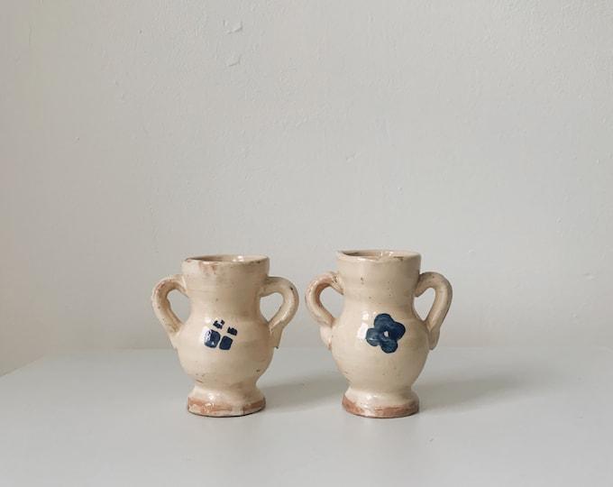 Vintage hand painted ceramic vessel set