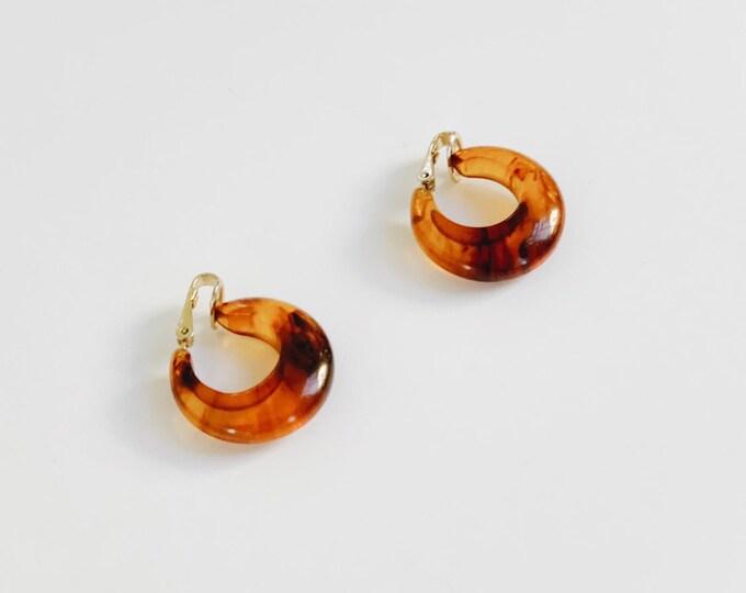 vintage turtle shell hoop earrings | clip on earrings | statement earrings | vintage earrings | Able Shoppe