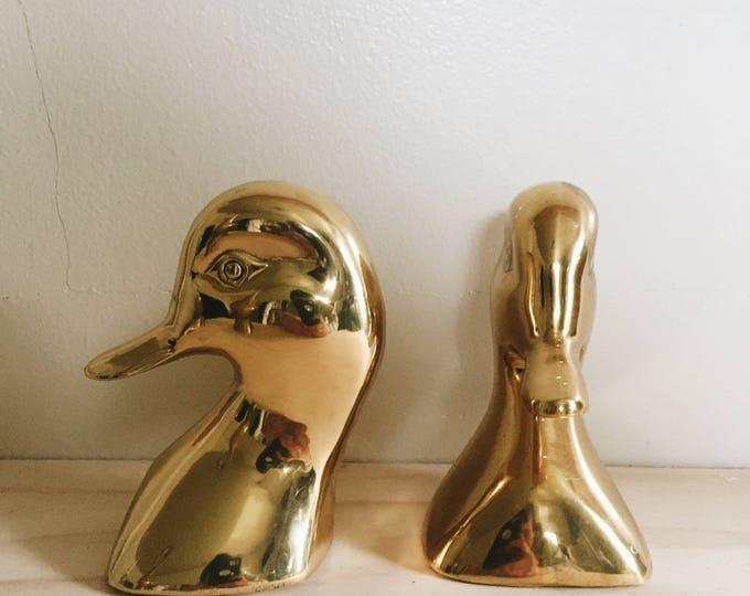 vintage golden duck bookends   mcm decor   midcentury modern decor   able shoppe
