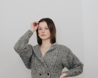 vintage gray crop cardigan