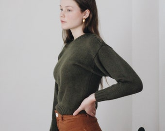 olive green crop sweater