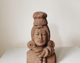 Vintage handmade clay bust sculpture 1962