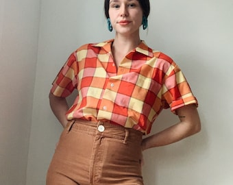 Vintage plaid blouse