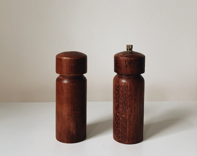 Vintage teak salt & pepper shakers