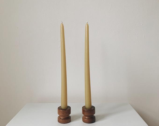 Vintage wooden candle holder set