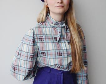 MOLLY BLOUSE   Vintage 70s tie Collar Blouse   puffed sleeve blouse   70s blouse   plaid blouse   ABLE shoppe