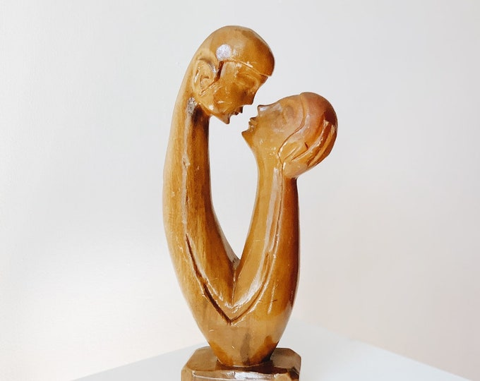 large mid century modern wooden sculpture | two lovers wooden sculpture | wooden human figure sculpture | ABLE SHOPPE