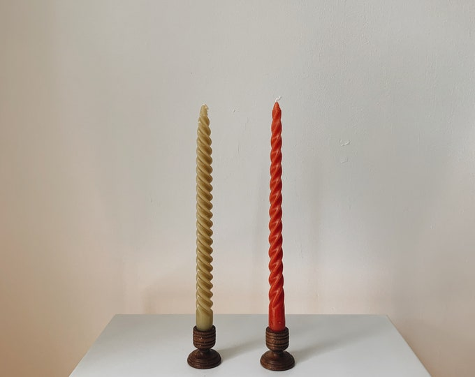 Vintage wooden candle holder set