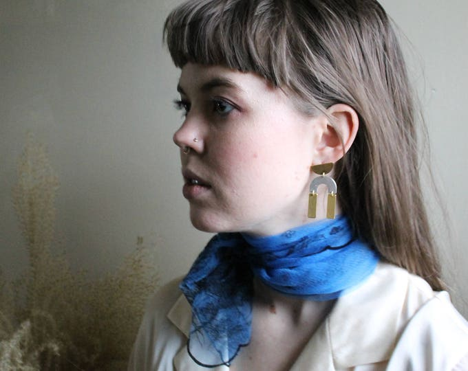vintage blue and black neck scarf |  scarf | neck scarf | fashion scarf | vintage scarf | vintage neck scarf | Able Shoppe