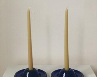 Vintage cobalt blue glass candle holder set