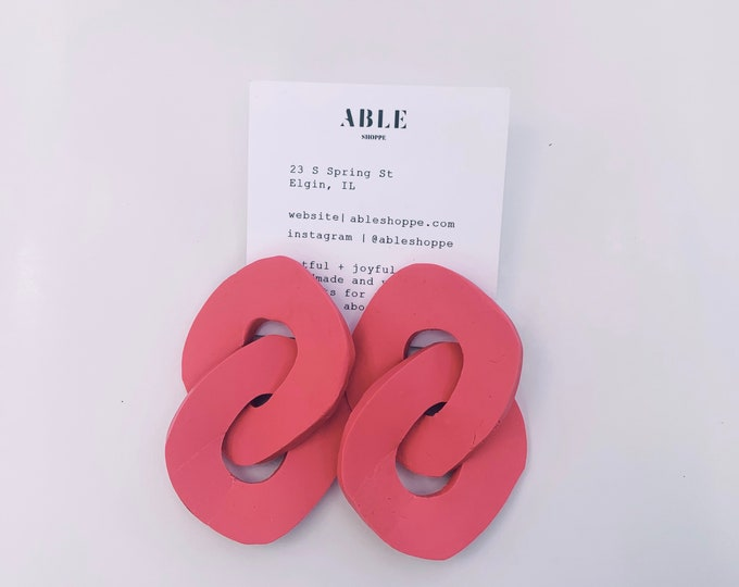 Organic sculptural chain earrings | Hot pink
