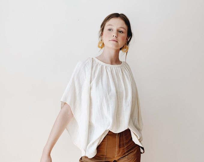 White peasant blouse | Vintage 70s white blouse | 70s blouse | puffy sleeves | ABLE shoppe