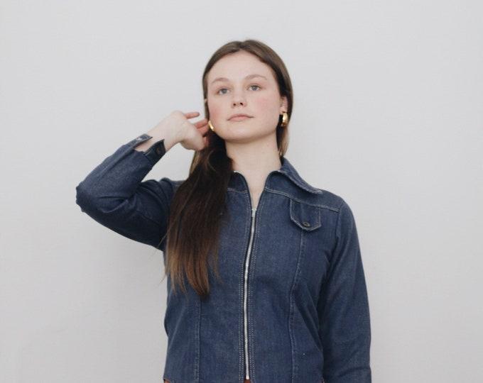 70s denim pointed collar zip shirt