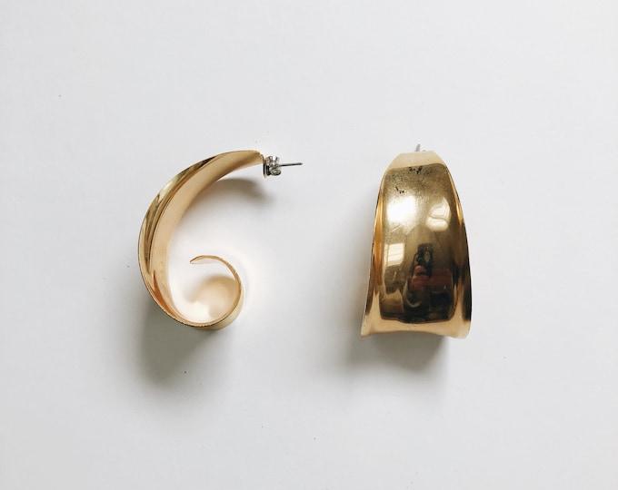 ELVA EARRINGS   vintage metal large hoop earrings   pierced earrings   statement earrings   vintage earrings   Able Shoppe
